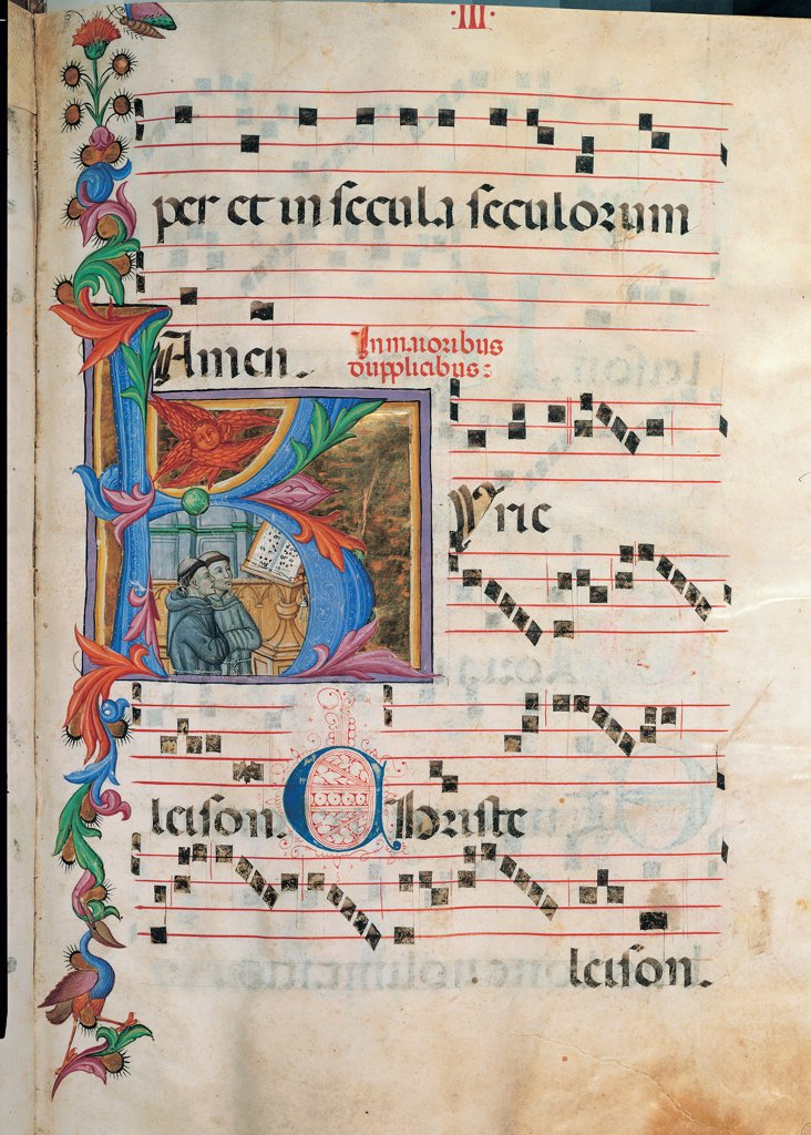 Gradual and Kyrial of two Monks sing in front of a Lectern, by Unknown, 15th Century, illuminated manuscript. Italy, Tuscany, Siena, Osservanza Basilica. Whole artwork. Illuminated page book choral liturgical chant notes music text plant shoots panel illustration small figures monks clergymen tonsure chant score lectern book-rest book prayer blue red green black. : Stock Photo