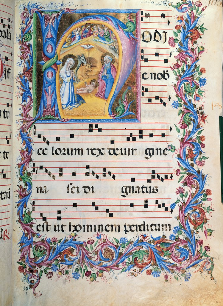 Stock Photo: 1899-47785 Day hours and night hours antiphonary from the first Saturday of Advent to the IV Sunday after Epiphany, by Anonymous Sienese painter, 15th Century, illuminated manuscript. Italy, Tuscany, Siena, Osservanza Basilica. Whole artwork. Illuminated page with the Nativity page score notes music chant plant volutes square hut: stable Infant Jesus St Joseph Virgin Mary Holy Family ox donkey angels rank dove Holy Spirit: Holy Ghost blue red yellow gre.