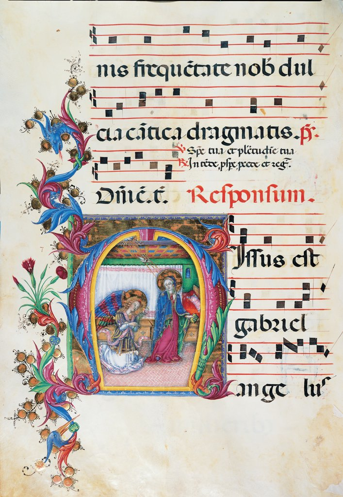 Diurnal and Nocturne Antiphonary from the First Saturday after Epiphany to Holy Saturday, by Anonymous Sienese painter, 15th Century, illuminated manuscript. Italy, Tuscany, Siena, Osservanza Basilica. Whole artwork. Illuminated page -Annunciation score notes music chant square Annunciation Virgin Mary garment: dress mantle: cloak announcement archangel Gabriel wings halos: aureoles plant volutes: spirals blue red yellow green. : Stock Photo