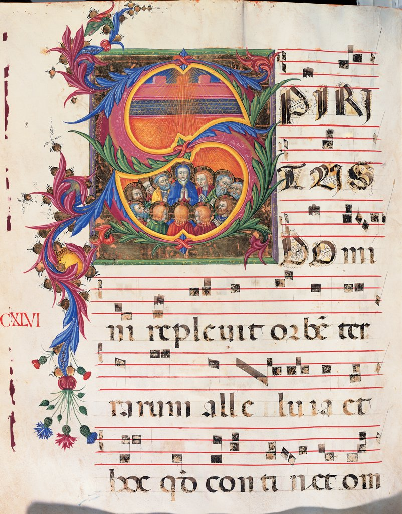 Stock Photo: 1899-47794 Gradual from Palm Sunday to the XXIV Sunday after Pentecost, by Anonymous Sienese painter, 15th Century, illuminated manuscript. Italy, Tuscany, Siena, Osservanza Basilica. Whole artwork. Pentecost. Illuminated page score notes text verses prayers chant panel representation sky rays light Holy Ghost: Holy Spirit Apostles Virgin plant shoots flowers green yellow blue red.