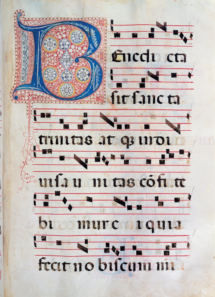 Gradual from Palm Sunday to the XXIV Sunday after Pentecost, by Anonymous Sienese painter, 15th Century, illuminated manuscript. Italy, Tuscany, Siena, Osservanza Basilica. Whole artwork. Benedicta. Illuminated page score notes text verses prayer chant incipit: beginning initial letter decoration blue red green yellow. : Stock Photo