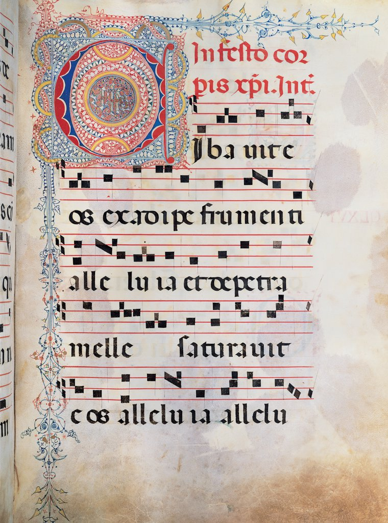 Gradual from Palm Sunday to the XXIV Sunday after Pentecost, by Anonymous Sienese painter, 15th Century, illuminated manuscript. Italy, Tuscany, Siena, Osservanza Basilica. Whole artwork. Cibavit. Illuminated page score notes text verses prayer chant incipit: beginning initial letter decoration blue red green yellow. : Stock Photo