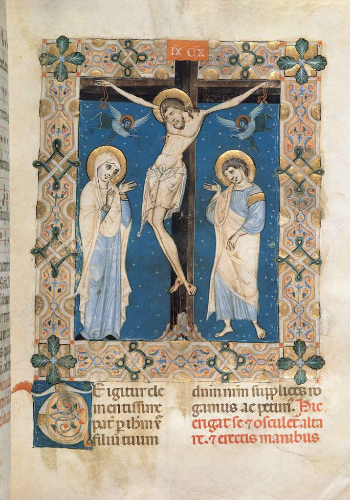 Franciscan Missal of The Crucifixion, by Master of the Deruta Missal, 1280, 13th Century, illuminated manuscript. Italy, Campania, Salerno, Duomo Museum. Whole artwork. Illuminated page. The Crucifixion Jesus Christ crucified Virgin Mary St John intertwined: interlaced: interwoven decorative motifs leaves incipit initial letter writing sacred: holy text. : Stock Photo