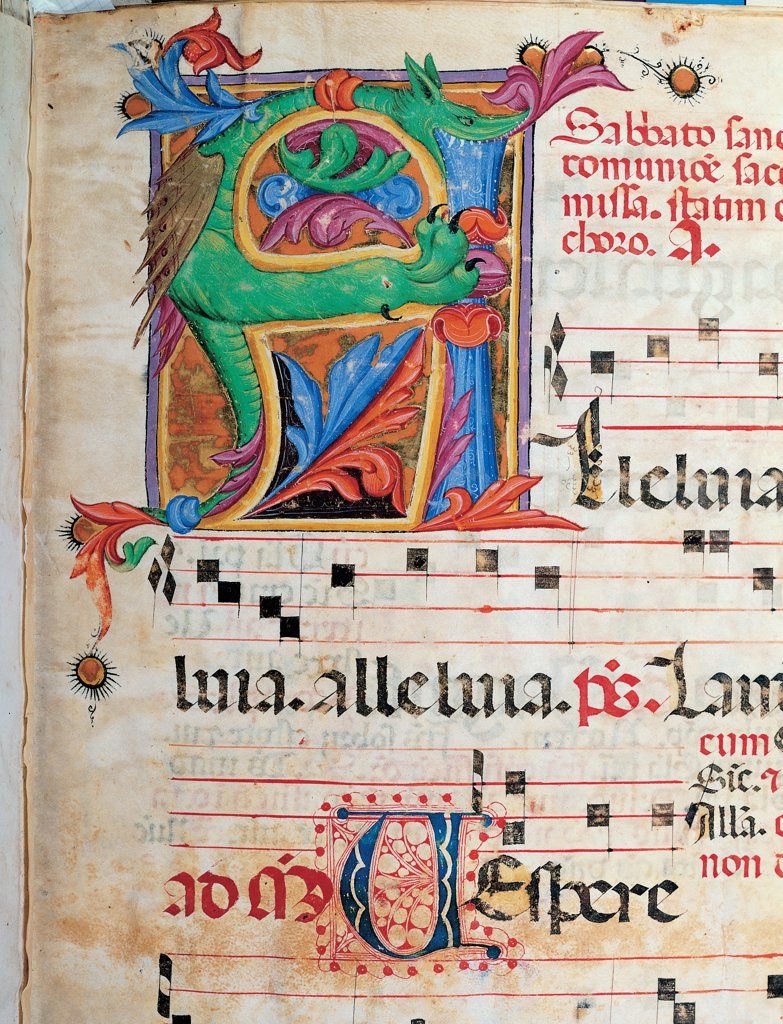 Stock Photo: 1899-47803 Day and night Antiphonary from Holy Saturday to the 10th Sunday after Pentecost, by Anonymous Sienese painter, 15th Century, illuminated manuscript. Italy, Tuscany, Siena, Osservanza Basilica. Detail. Alleluia. Illuminated page score notes music chant panel initial letter incipit: beginning plant shoots blue red yellow green black.