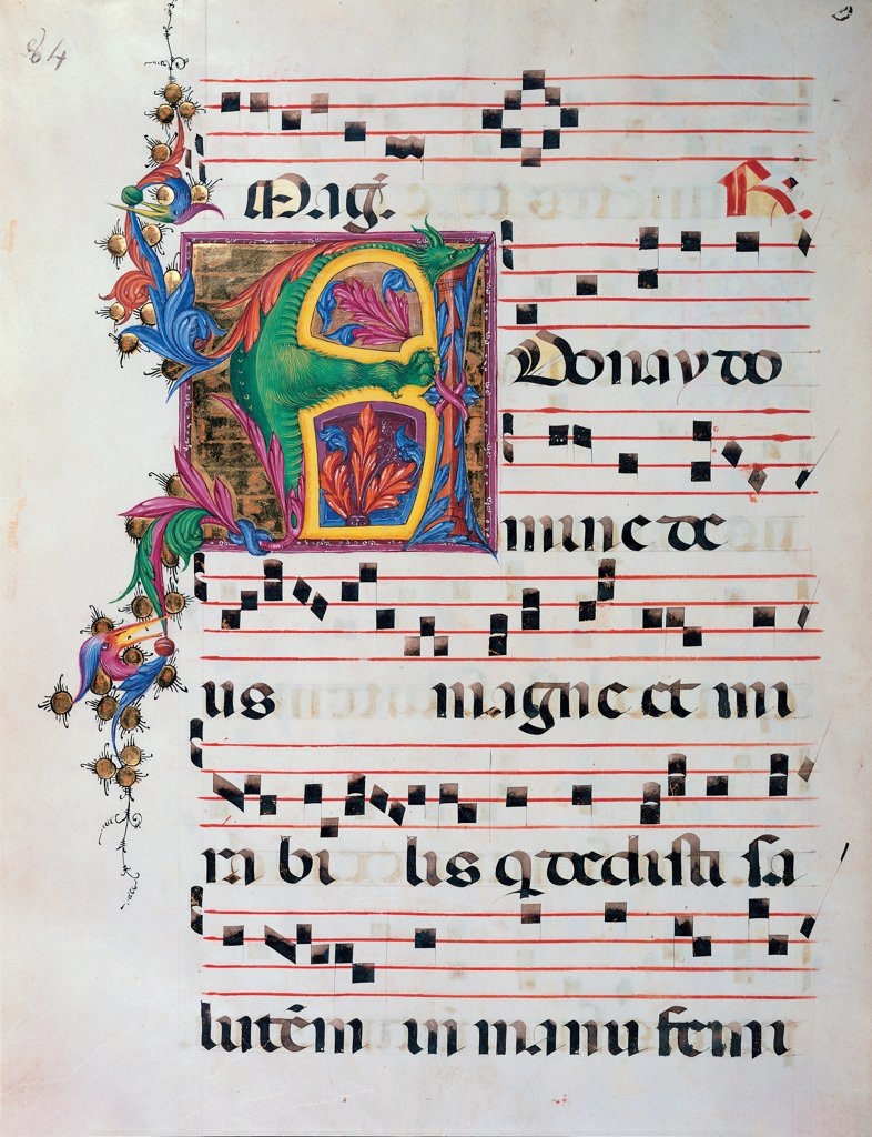 Day and night Antiphonary from the 6th Sunday after Pentecost to the Advent, by Anonymous Sienese painter, 15th Century, illuminated manuscript. Italy, Tuscany, Siena, Osservanza Basilica. Whole artwork. Anonay. Illuminated page score notes music chant plant shoots panel initial letter incipit: beginning dragon prayer blue red yellow green. : Stock Photo