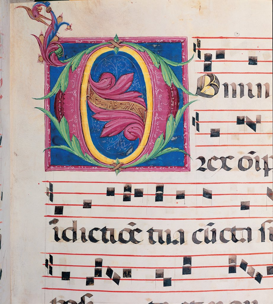 Stock Photo: 1899-47806 Day and night Antiphonary from the 6th Sunday after Pentecost to the Advent, by Anonymous Sienese painter, 15th Century, illuminated manuscript. Italy, Tuscany, Siena, Osservanza Basilica. Detail. Domine. Illuminated page score notes music chant plant shoots panel initial letter incipit: beginning prayer blue red yellow green.