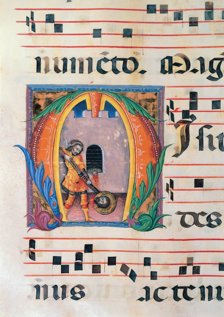Day and night Antiphonary from the 6th Sunday after Pentecost to the Advent, by Anonymous Sienese painter, 15th Century, illuminated manuscript. Italy, Tuscany, Siena, Osservanza Basilica. Detail. Beheading of the Baptist illuminated page score notes music chant plant shoots panel John the Baptist beheaded saint saint head halo: aureole torturer executioner man prayer blue red yellow green. : Stock Photo
