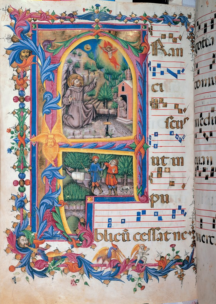 Stock Photo: 1899-47811 Day and night Antiphonary from the 6th Sunday after Pentecost to the Advent, by Anonymous Sienese painter, 15th Century, illuminated manuscript. Italy, Tuscany, Siena, Osservanza Basilica. Whole artwork. St Francis receiving the stigmata illuminated page score notes music chant plant shoots panel double register St Francis man monk habit: tunic saint miracle halo: aureole tonsure prayer vision crucifix Jesus flames.