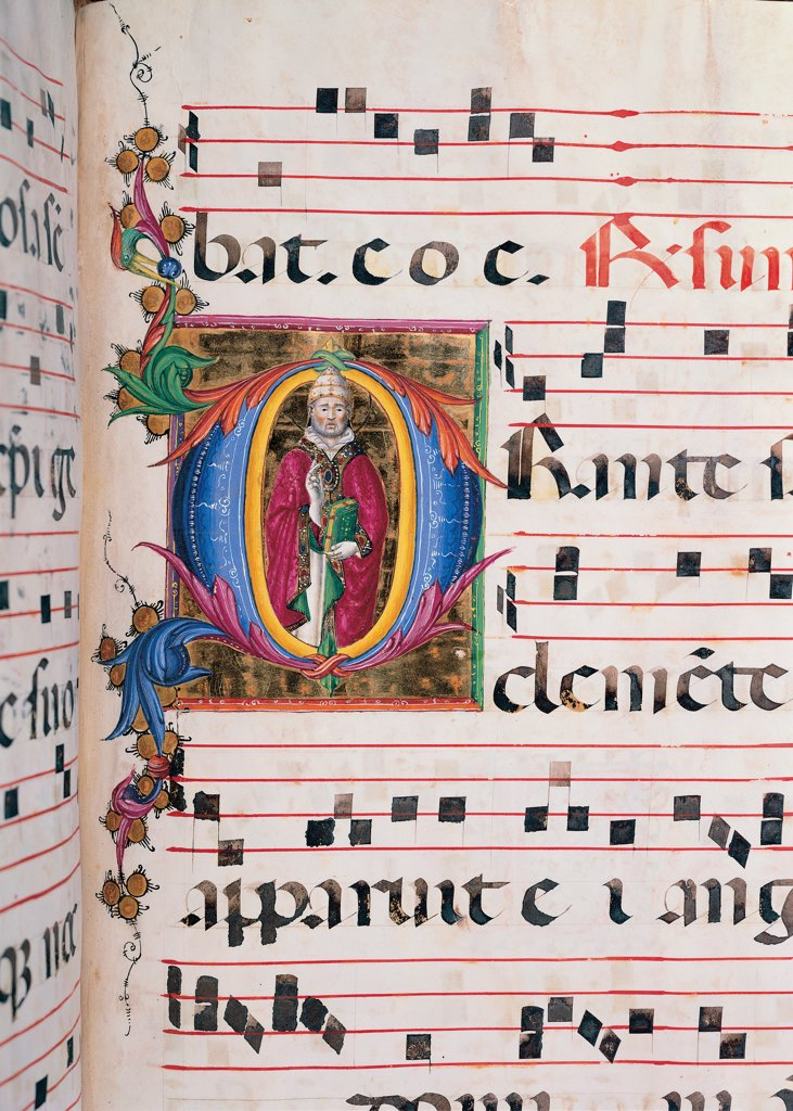 Stock Photo: 1899-47816 Day and night Antiphonary from the 6th Sunday after Pentecost to the Advent, by Anonymous Sienese painter, 15th Century, illuminated manuscript. Italy, Tuscany, Siena, Osservanza Basilica. Detail. Illuminated page with blessing Clement. Page score notes music chant plant shoots panel incipit: beginning initial letter St Clement blessing man pope Pontiff tiara cope: pluvial mantle: cloak martyr palm halo: au.