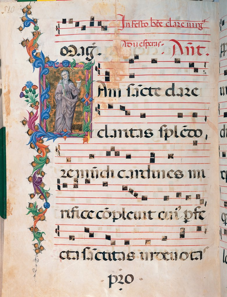Stock Photo: 1899-47817 Day and night Antiphonary from the 6th Sunday after Pentecost to the Advent, by Anonymous Sienese painter, 15th Century, illuminated manuscript. Italy, Tuscany, Siena, Osservanza Basilica. Whole artwork. Illuminated page with St Clare. Page score notes music chant plant shoots initial letter incipit: beginning panel St Clare nun mantle: cloak monstrance prayer blue red yellow green gray.