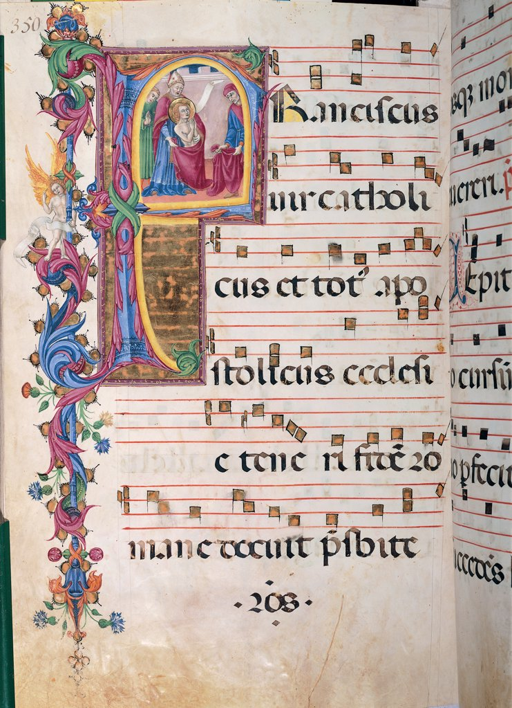 Stock Photo: 1899-47818 Day and night Antiphonary from the 6th Sunday after Pentecost to the Advent, by Anonymous Sienese painter, 15th Century, illuminated manuscript. Italy, Tuscany, Siena, Osservanza Basilica. Whole artwork. St Francis gives up riches illuminated page score notes music chant plant shoots panel incipit: beginning initial letter St Francis man saint tonsure nudity halo: aureole dresses: robes: garments giving up Pontiff pr.