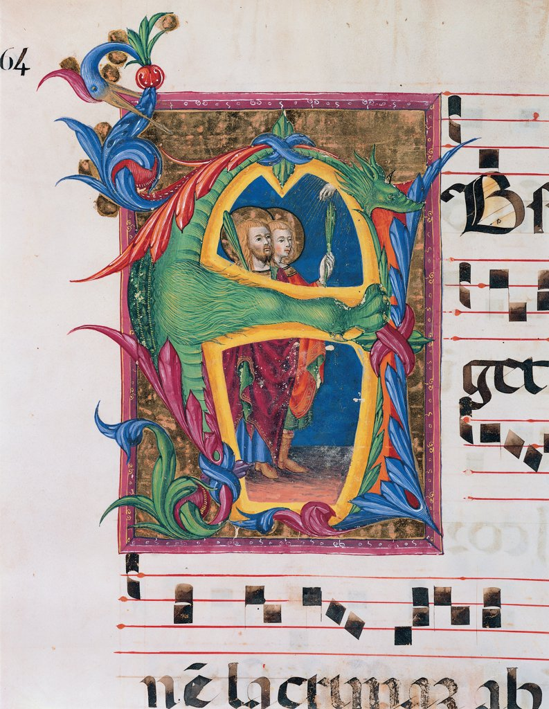 Day and night Antiphonary of the Common of Saints, by Anonymous Sienese painter, 15th Century, illuminated manuscript. Italy, Tuscany, Siena, Osservanza Basilica. Detail. Two martyr saints. Page score notes music chant panel incipit: beginning initial letter halo: aureole martyrs tunics: robes dress: robe: garment plant shoots dragon blue red yellow green. : Stock Photo