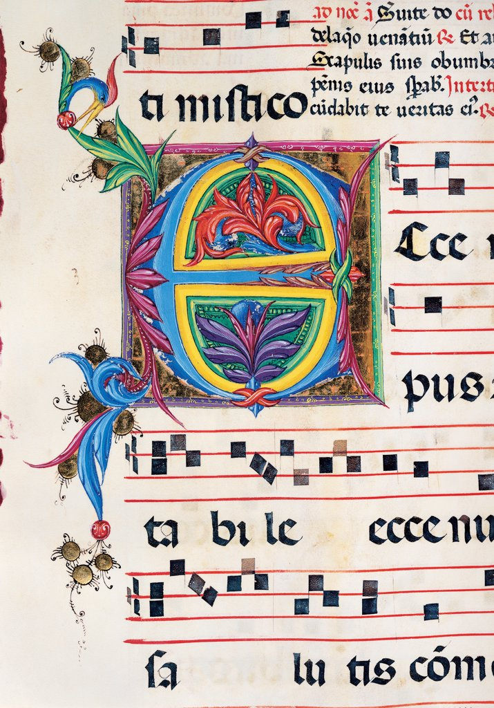 Diurnal and Nocturne Antiphonary from the First Saturday after Epiphany to Holy Saturday, by Anonymous Sienese painter, 15th Century, illuminated manuscript. Italy, Tuscany, Siena, Osservanza Basilica. Detail. Illuminated page - Ecce. Score notes music chant panel letter initial letter incipit: beginning plant shoots blue red yellow green. : Stock Photo