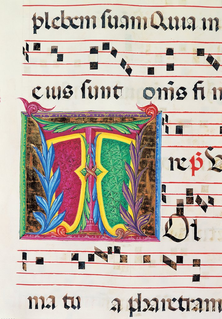 Diurnal and Nocturne Antiphonary from the First Saturday after Epiphany to Holy Saturday, by Anonymous Sienese painter, 15th Century, illuminated manuscript. Italy, Tuscany, Siena, Osservanza Basilica. Detail. Illuminated page - Tolle. Score notes music chant panel letter initial letter incipit: beginning plant shoots blue red yellow green. : Stock Photo