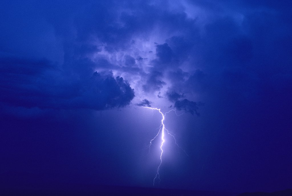 Cloud-to-ground lightning discharge.   Tucson, Arizona, USA. : Stock Photo