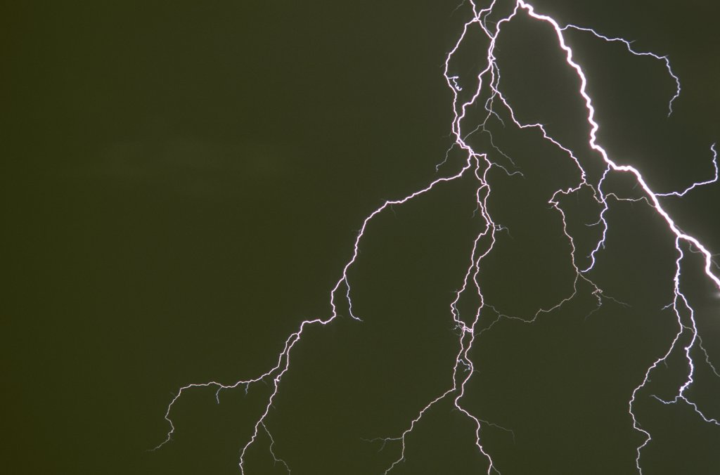 Stock Photo: 1899-50043 Elaborately forked cloud-to-ground lightning discharge.   Tucson, Arizona, USA.