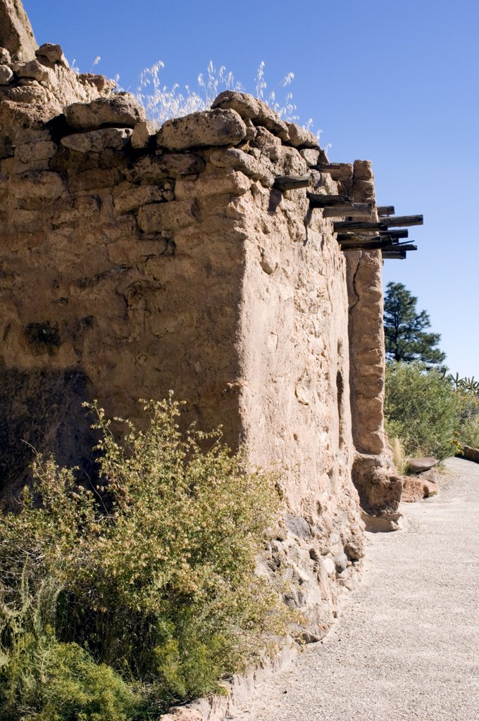 New Mexico, Bandelier National Monument. Frijoles Canyon. Main Loop Trail. Reconstructed Talus House Along Canyon Wall Left Behind By Ancestral Pueblo People (Anasazi) : Stock Photo