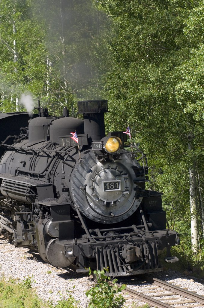 Stock Photo: 1899-51236 The Cumbres And Toltec Scenic Railroad Is A Coal Fired, Steam Powered Narrow Gauge Railroad That Travels From Chama, New Mexico To Antonito, Colorado.