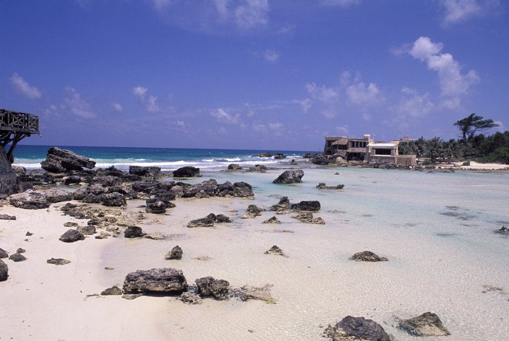 Mexico. Cancun. Isla Mujeres. Beach And Rocks. : Stock Photo