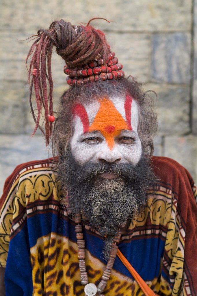 Stock Photo: 1899-52407 Kathmandu Nepal Religious Man Painted At Pashupatinath Holi Hindu Place On Bagmati River
