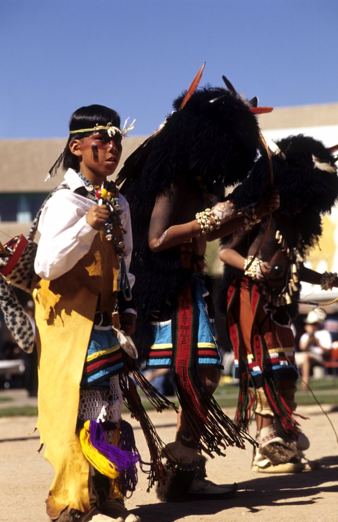 Pueblo Indians In At Buffalo Dance In New Mexico Near Albuquerque : Stock Photo