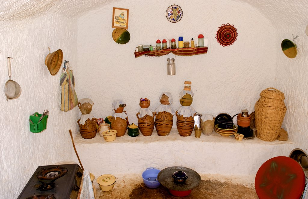 Stock Photo: 1899-53149 Kitchen With Jugs In Berber Village. Matmata, Tunisia, Cave House