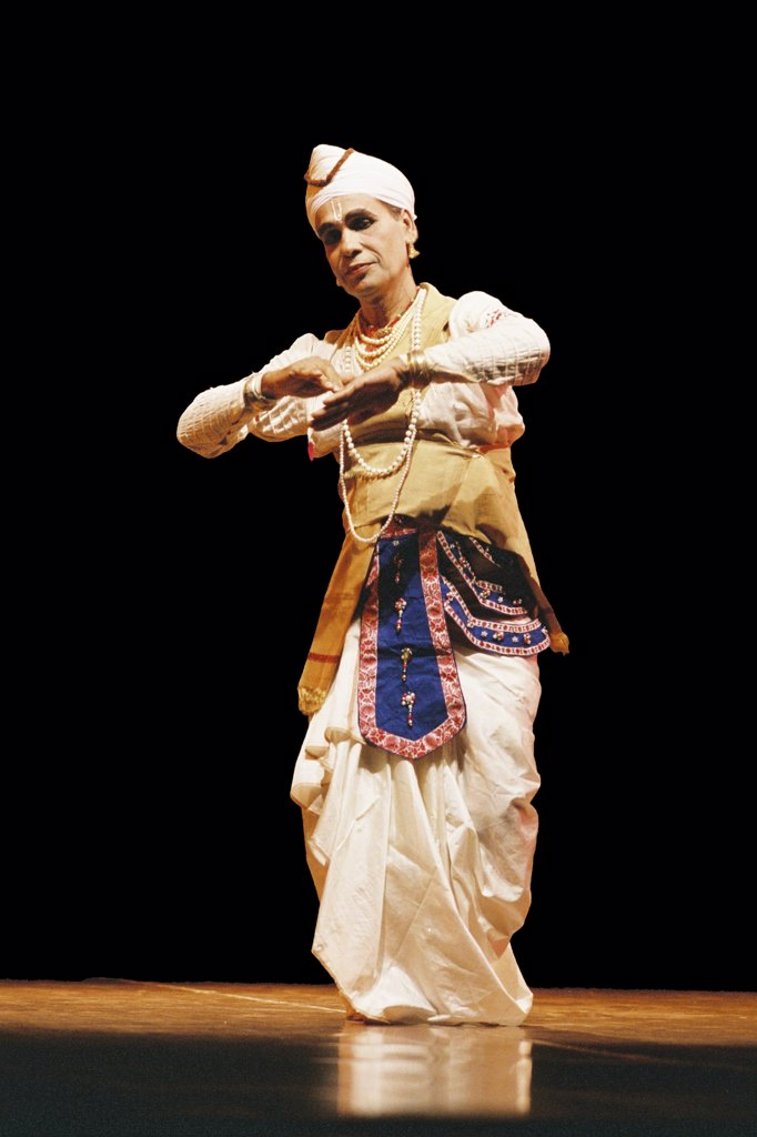 Stock Photo: 1899-54609 Indian Folk Dancer Student Of Ghanakanta Bora, Performing A Solo Assamese Sattriya Dance, Assam, India
