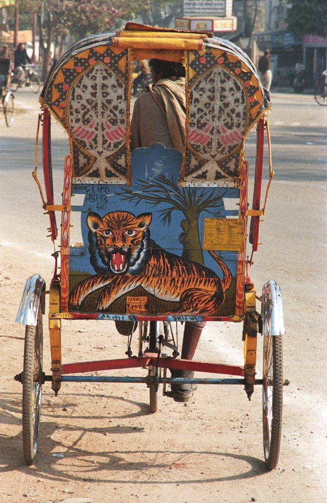 Painting Of Tiger On Tri-Cycle Rickshaw, Allahabad City, Uttar Pradesh, India : Stock Photo