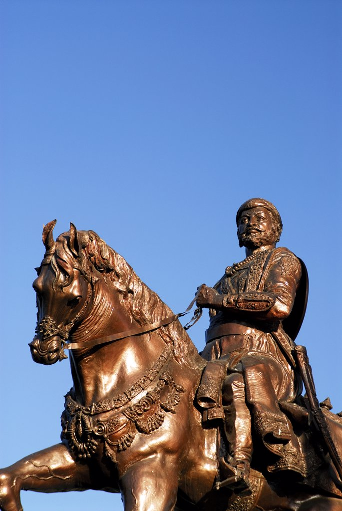 Stock Photo: 1899-54781 Bronze Shivaji Statue Parbhani District At Beed, Maharashtra, India