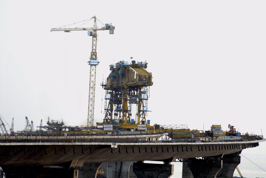 Stock Photo: 1899-55027 Bandra Sea Link Bridge Showing Work In Progress. Mumbai, Maharashtra, India