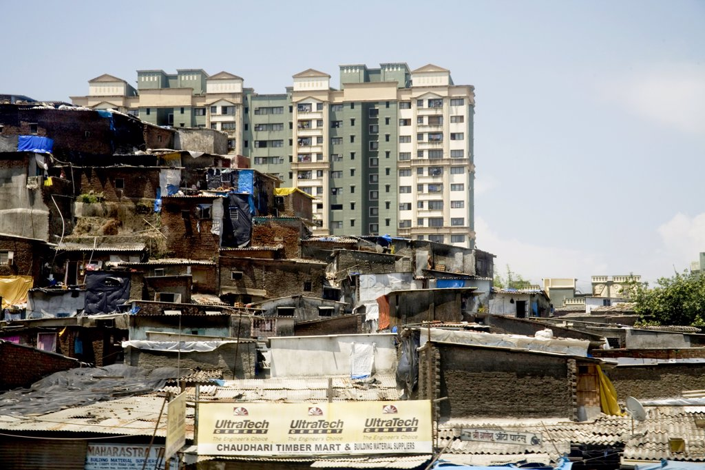 Stock Photo: 1899-55180 Slum And Residential Buildings At Kandivali, Mumbai Bombay, Maharashtra, India
