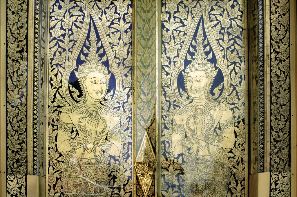 Stock Photo: 1899-55337 Decorative Door Panels With Traditional Thai Art At Wat Phra Temple Bangkok, Thailand