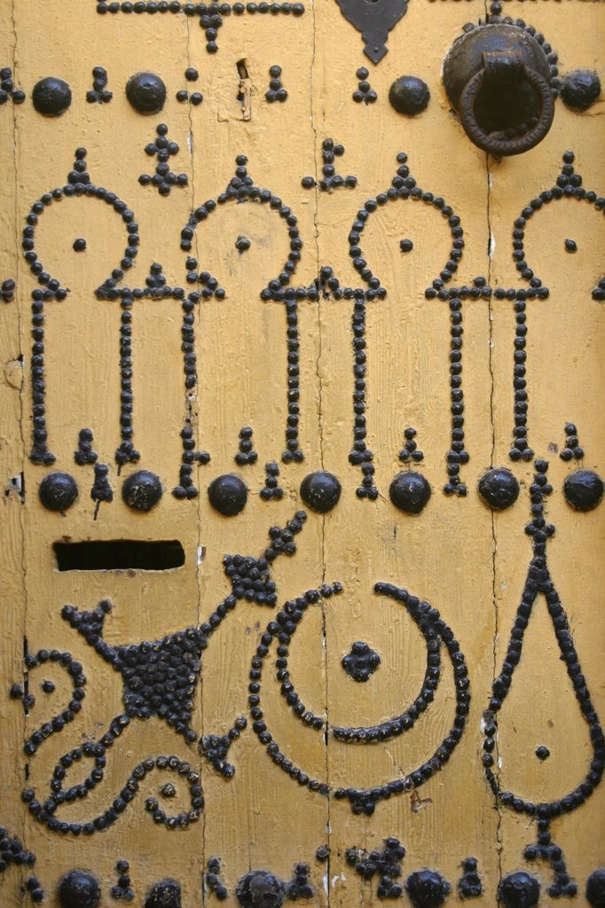 Stock Photo: 1899-57415 Tunisia, Tunis. Medina. Traditional Doors With Nailhead Designs