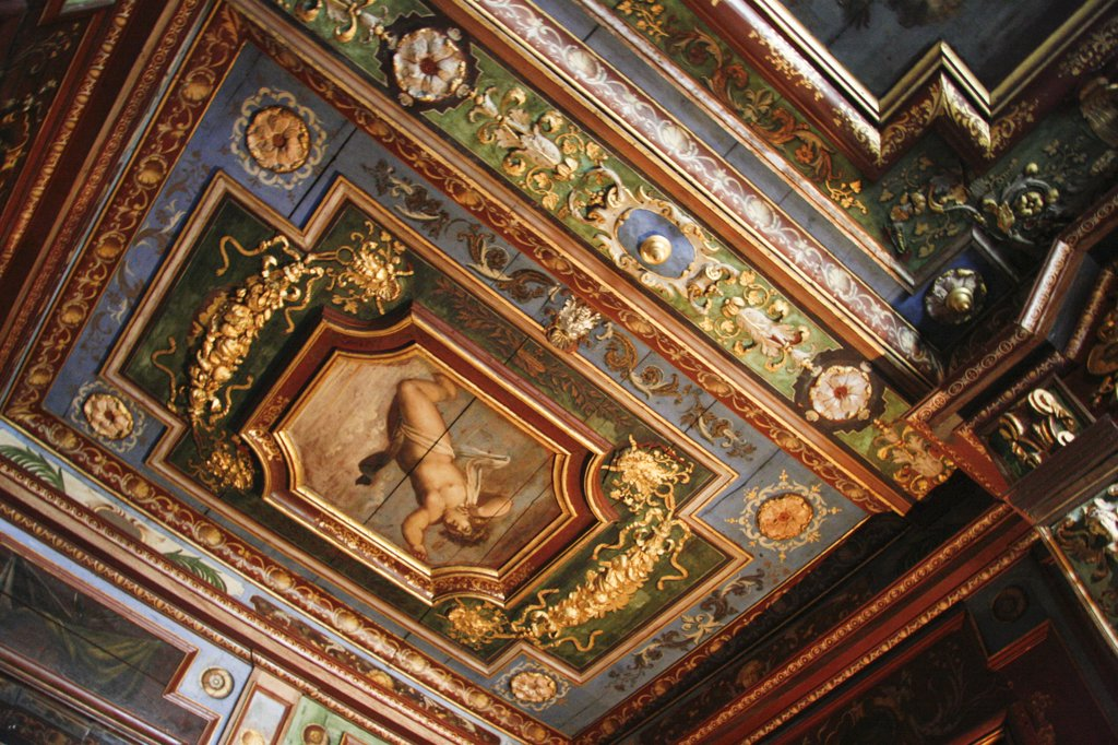 France, Cormatin Castle, Interior Painted And Carved Ceiling : Stock Photo