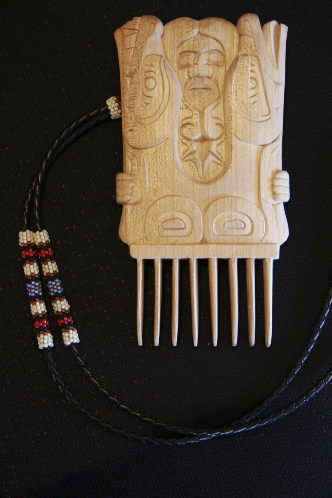 Stock Photo: 1899-57917 Carved Wooden Carving Comb, B.C., Canada