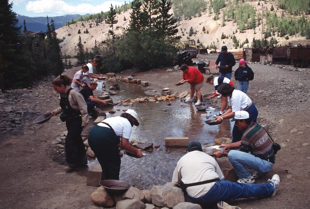 Stock Photo: 1899-59903 Tourists Panning For Gold At Country Boy Mine, Breckenridge, Colorado