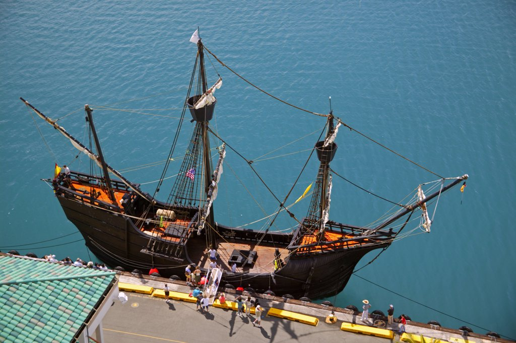 Stock Photo: 1899-60729 Hawaii, Oahu, Honolulu Harbor. Replica Of The 16Th Century Spanish Ship Nao Victoria