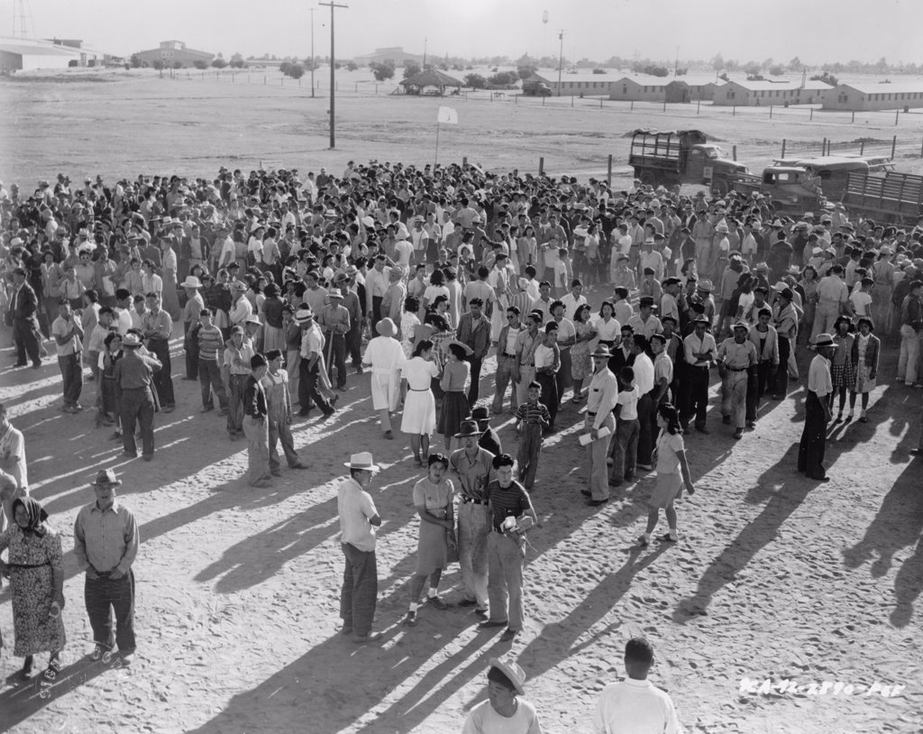 Pinedale, California. Assembly Center. Grouping Of Evacuees Toward The Rim Of The Center Prior To Departing For Relocation Center. 1942 : Stock Photo
