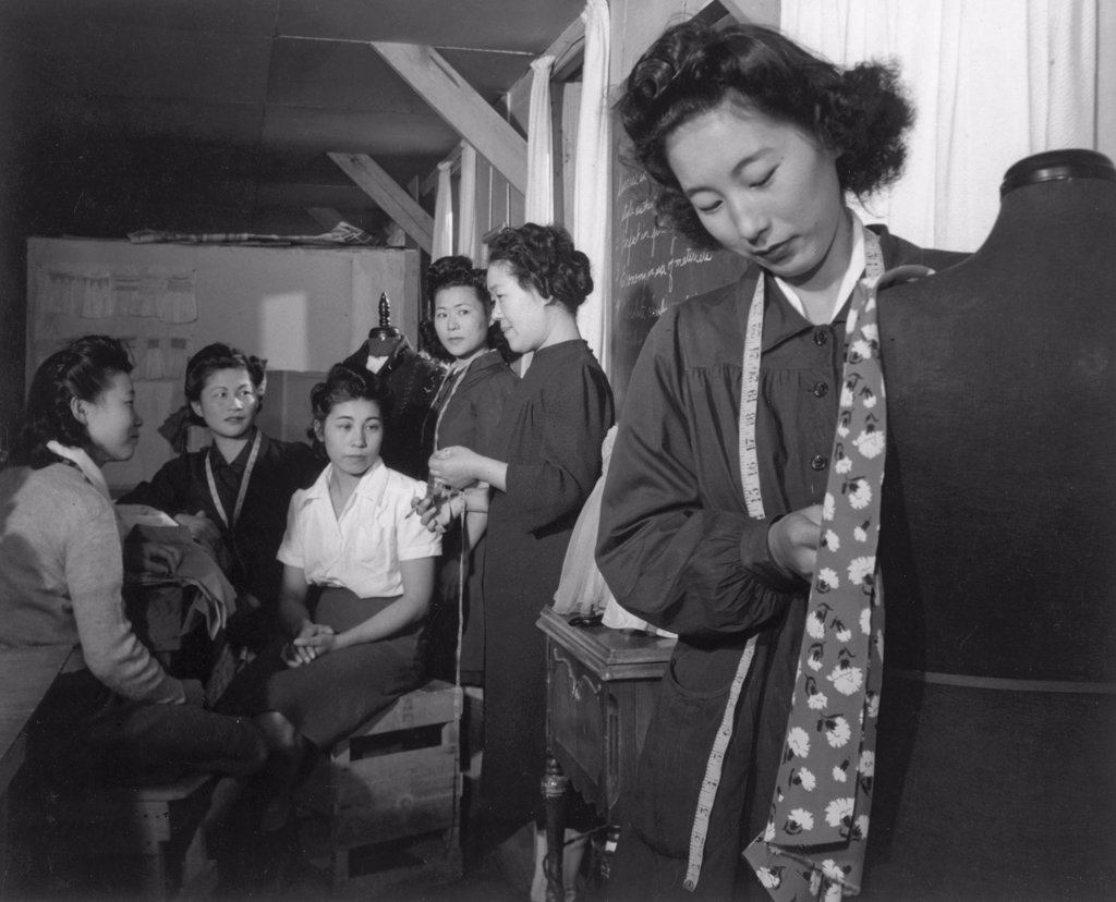 Stock Photo: 1899-60951 Dressmaking Class, Manzanar Relocation Center, California.
