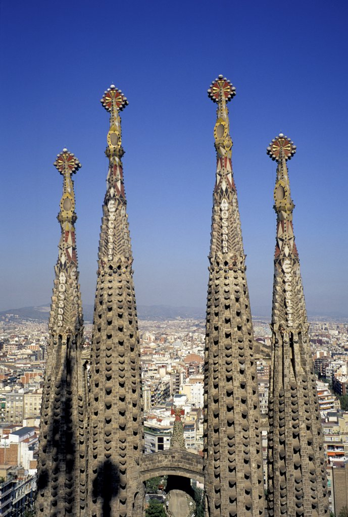 Stock Photo: 1899-61732 Spain, Barcelona. Spires Of Sagrada Familia Cathedral (Designed By Gaudi).
