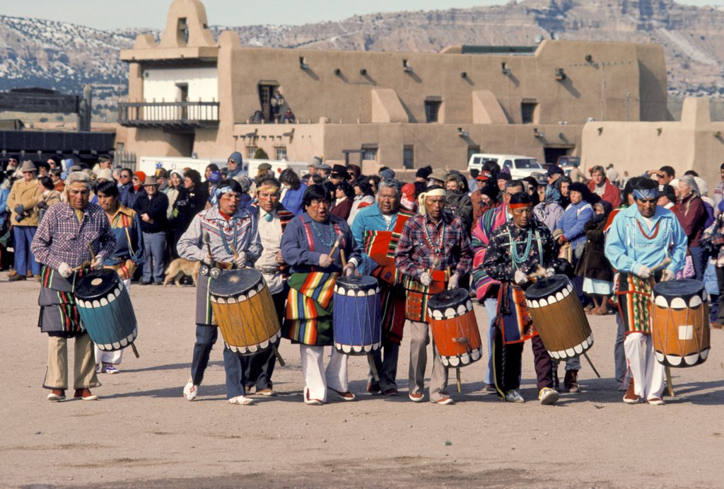 Stock Photo: 1899-62076 New Mexico. San Ildefonso. Drummers Dancing The Pueblo Comanche Dance