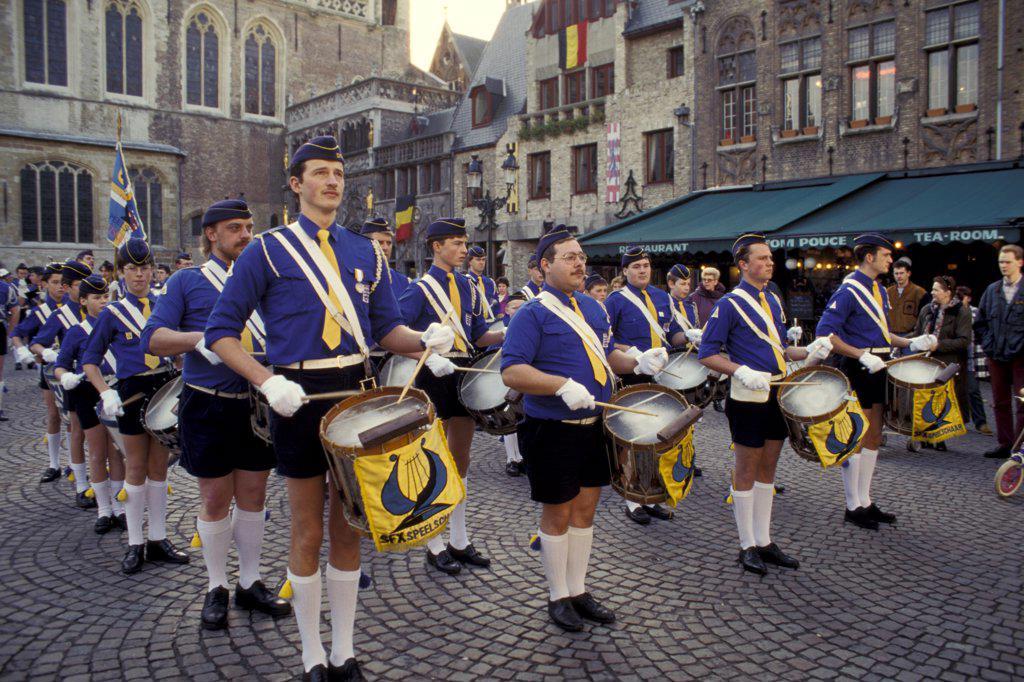 Belgium, Brugge. Armistice Day Parade, Drummers : Stock Photo