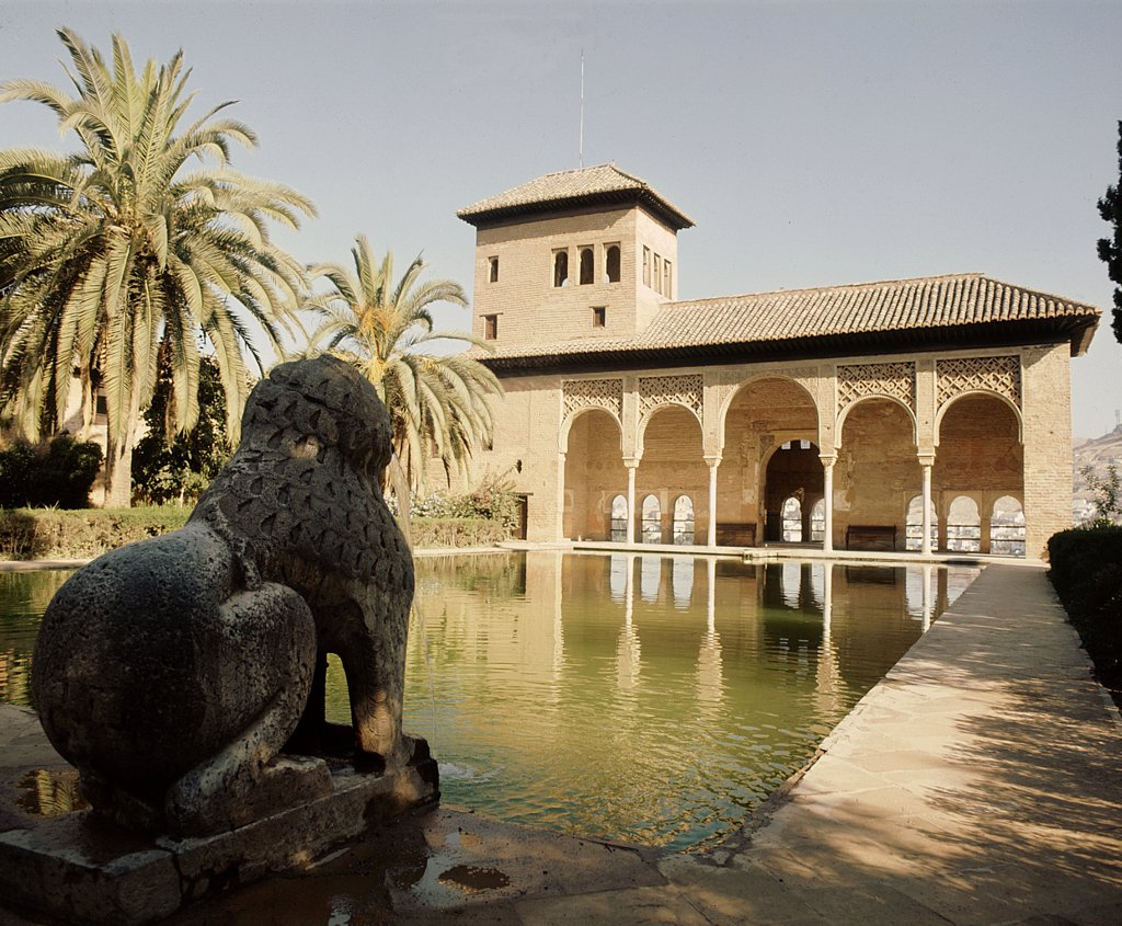 Stock Photo: 1899-64297 The pool of the Partal and the Torre de las Damas in the Alhambra Palace, Granada, Spain ,Islamic. 14th century Nasrid period. Granada.