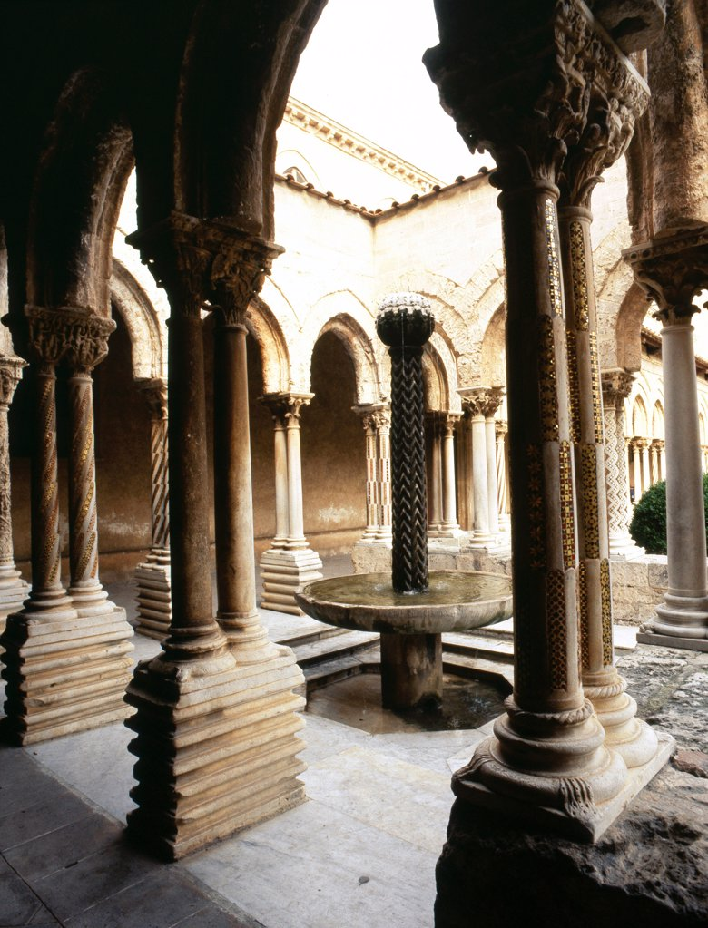 Stock Photo: 1899-64301 Monreale Cathedral, Sicily,The Norman-Byzantine cloister. Italy. Norman. founded by William II in 1174. near Palermo, Sicily.