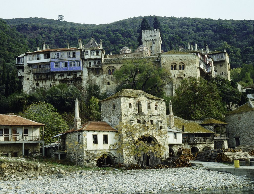 Stock Photo: 1899-64319 The monastery of Dochiariou, Mount Athos, Today the major survival of Byzantine monasticism is the autonomous group of monasteries on the one of the peninsulas of Chalkidike where some twenty-four monasteries are still in existence. Greece. Byzantine. Founded 963.