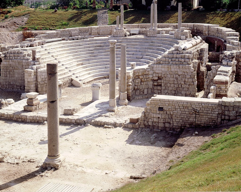 View of the auditorium of Kom Al-Dikka, the Roman theatre at Alexandria, probably built in the 3rd century AD, with later modifications, Egypt. Ancient Egyptian. Roman Period, circa 3rd C AD. Alexandria. : Stock Photo
