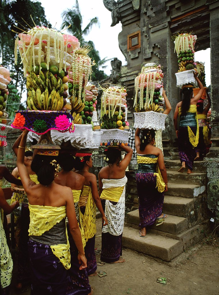 The Galungan festival, Ancestral spirits come back to earth for ten days, dwelling in family homes and the temples, to receive offerings and prayers. Here a procession of women brings food offerings at Pura Puseh, near the holy spring of Sempidi. Indonesia. Balinese. 1982. Bali. : Stock Photo