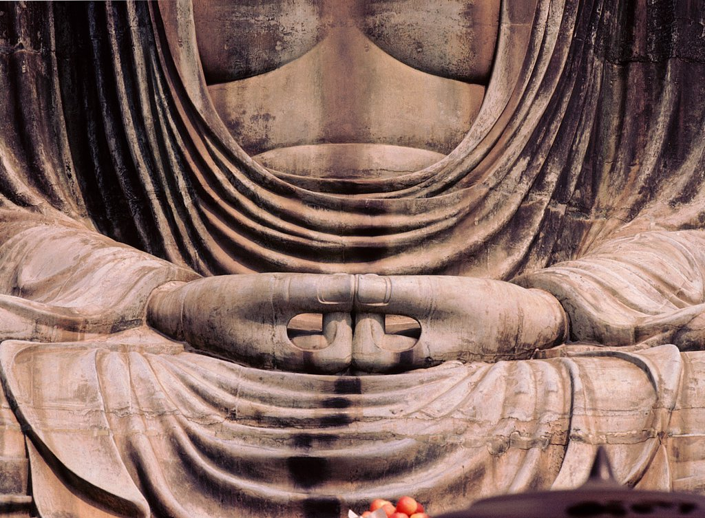 Stock Photo: 1899-64472 Kotuku-in, Amida Butsu, the Great Buddha. Detail of the hands.The giant bronze statue was created under the patronage of samurai Yoritomo. Japan. Japanese Kamakura period, 1252 AD.