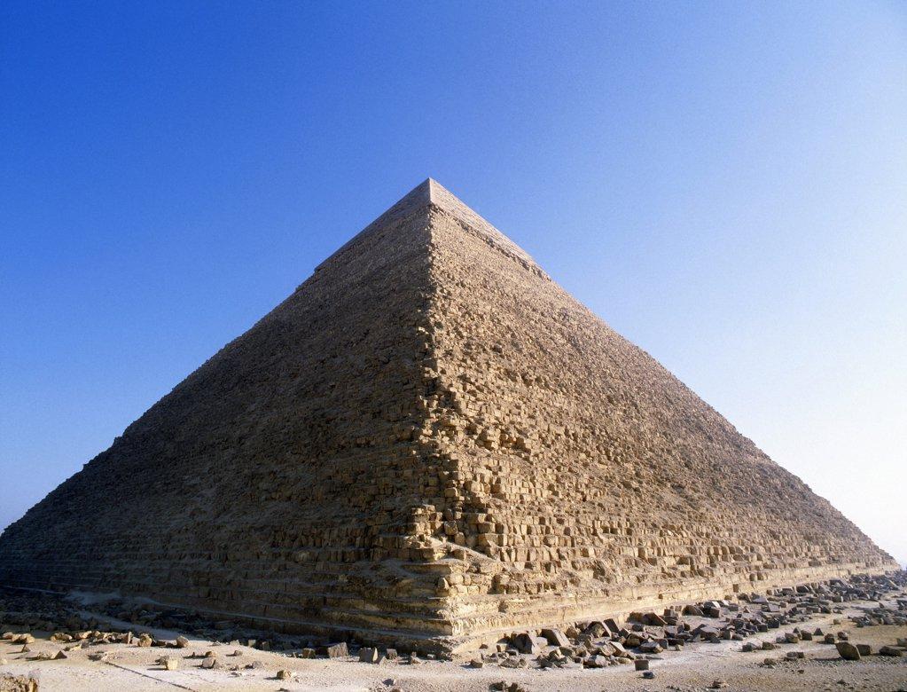 The Pyramid of Khephren at Giza, Egypt. Ancient Egyptian. Old Kingdom : Stock Photo
