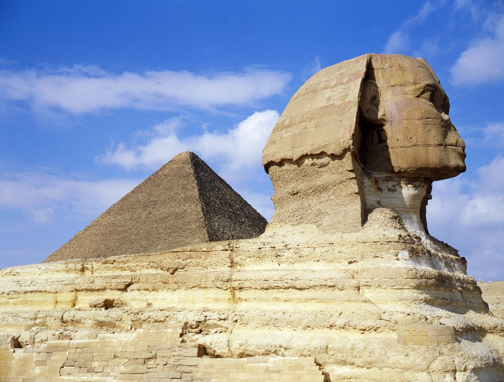 Stock Photo: 1899-64532 The Giza Sphinx, Egypt. Ancient Egyptian. Old Kingdom 4th dynasty. Giza.